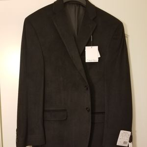 CALVIN KLEIN Black Suede Sports Coat 42 Short
